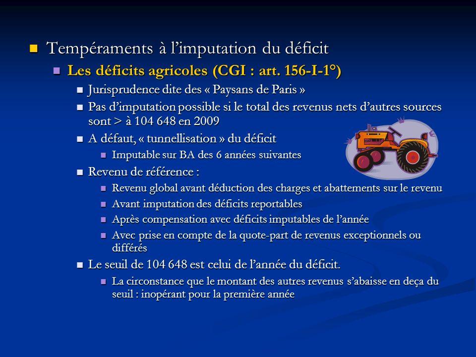 Tempéraments à limputation du déficit Tempéraments à limputation du déficit Les déficits agricoles (CGI : art. 156-I-1°) Les déficits agricoles (CGI :