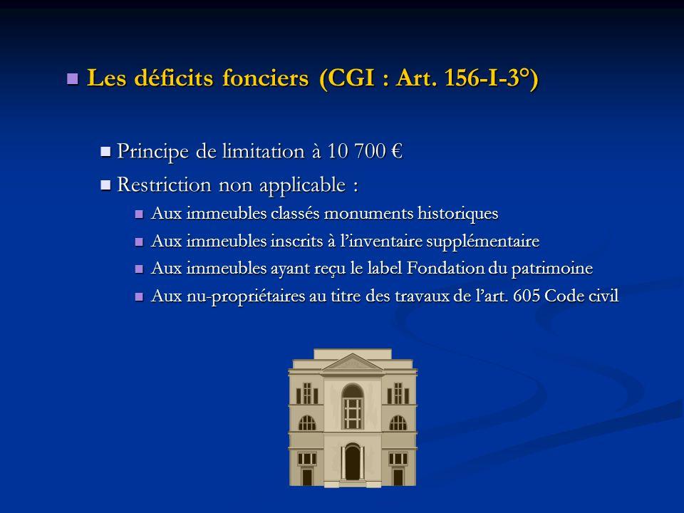 Les déficits fonciers (CGI : Art. 156-I-3°) Les déficits fonciers (CGI : Art. 156-I-3°) Principe de limitation à 10 700 Principe de limitation à 10 70