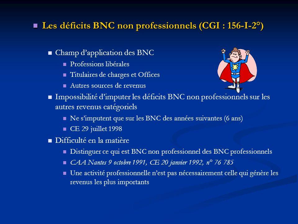 Les déficits BNC non professionnels (CGI : 156-I-2°) Les déficits BNC non professionnels (CGI : 156-I-2°) Champ dapplication des BNC Professions libér