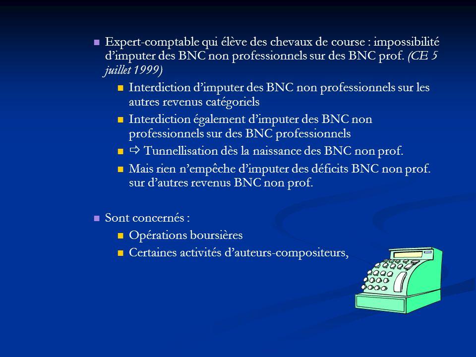 Expert-comptable qui élève des chevaux de course : impossibilité dimputer des BNC non professionnels sur des BNC prof. (CE 5 juillet 1999) Interdictio