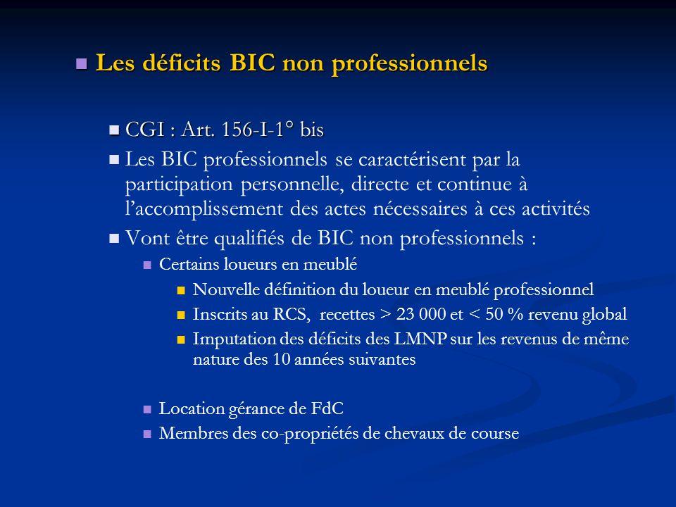Les déficits BIC non professionnels Les déficits BIC non professionnels CGI : Art. 156-I-1° bis CGI : Art. 156-I-1° bis Les BIC professionnels se cara