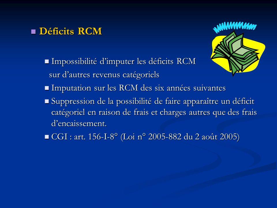 Déficits RCM Déficits RCM Impossibilité dimputer les déficits RCM Impossibilité dimputer les déficits RCM sur dautres revenus catégoriels sur dautres