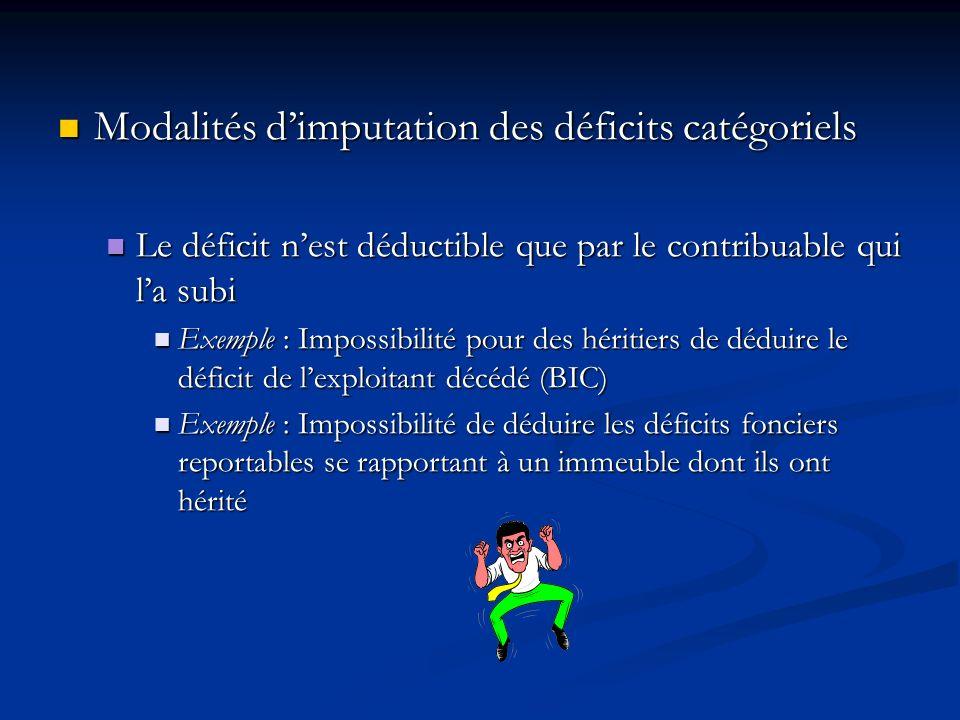 Modalités dimputation des déficits catégoriels Modalités dimputation des déficits catégoriels Le déficit nest déductible que par le contribuable qui l