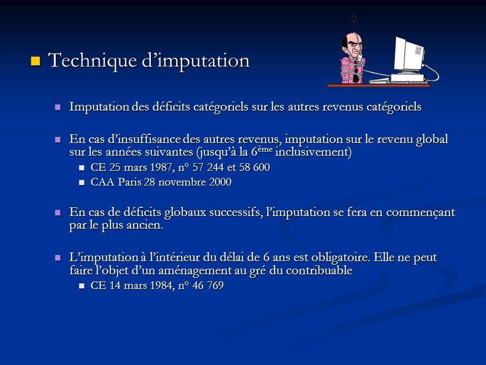 Technique dimputation Technique dimputation Imputation des déficits catégoriels sur les autres revenus catégoriels Imputation des déficits catégoriels
