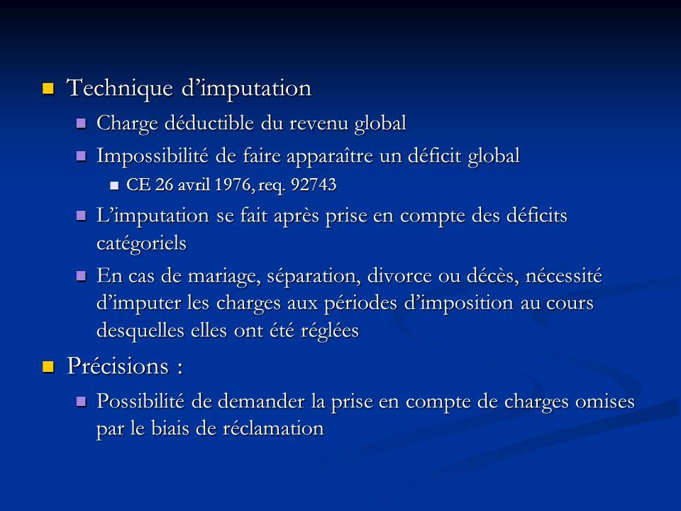 Technique dimputation Technique dimputation Charge déductible du revenu global Charge déductible du revenu global Impossibilité de faire apparaître un