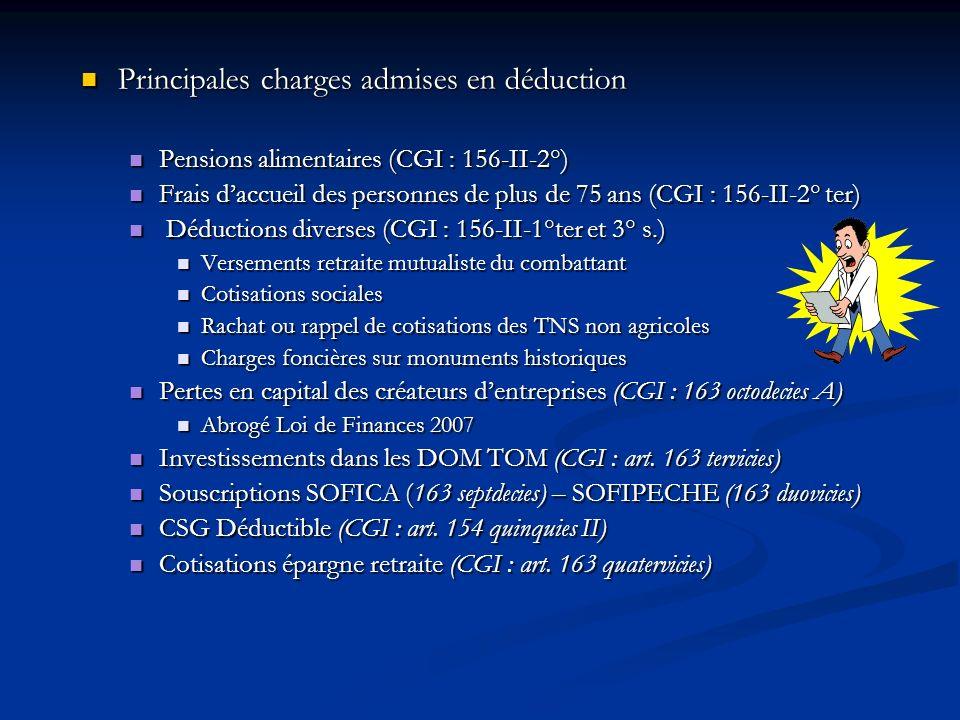 Principales charges admises en déduction Principales charges admises en déduction Pensions alimentaires (CGI : 156-II-2°) Pensions alimentaires (CGI :
