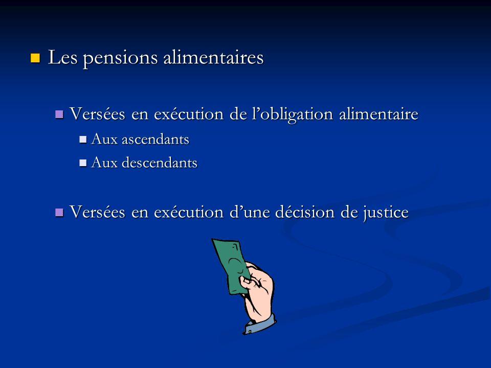 Les pensions alimentaires Les pensions alimentaires Versées en exécution de lobligation alimentaire Versées en exécution de lobligation alimentaire Au