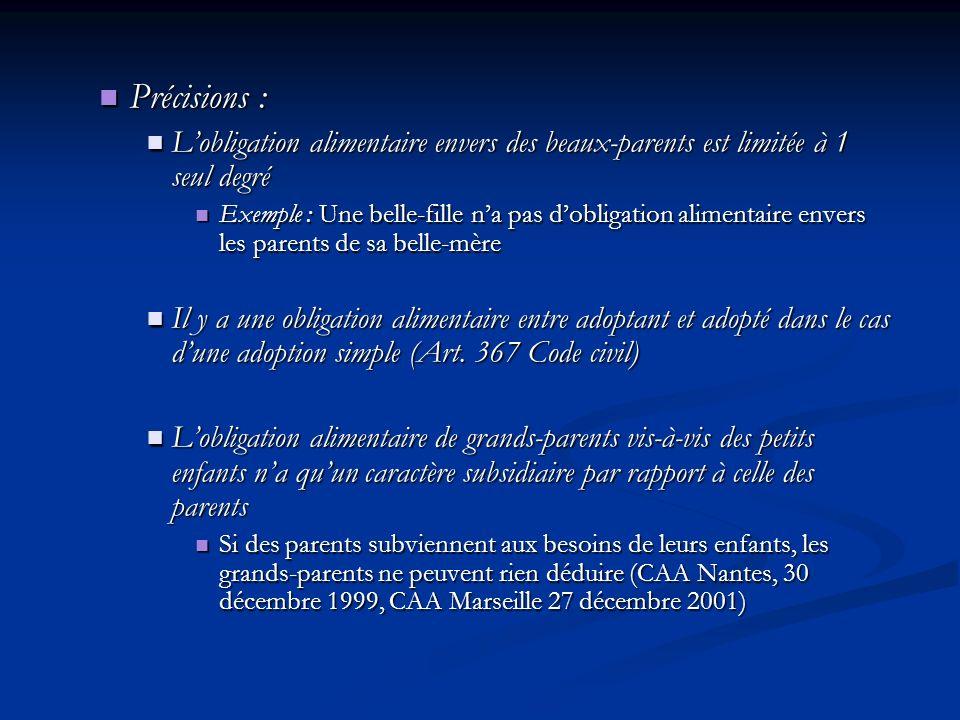 Précisions : Précisions : Lobligation alimentaire envers des beaux-parents est limitée à 1 seul degré Lobligation alimentaire envers des beaux-parents