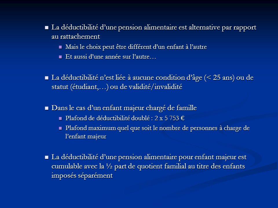 La déductibilité dune pension alimentaire est alternative par rapport au rattachement La déductibilité dune pension alimentaire est alternative par ra