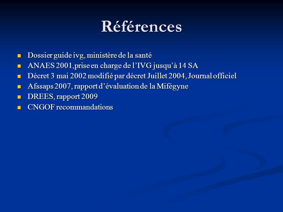 Références Dossier guide ivg, ministère de la santé Dossier guide ivg, ministère de la santé ANAES 2001,prise en charge de lIVG jusquà 14 SA ANAES 200