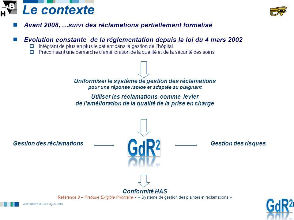 A-B/DQDP/ MT-VB/ 3 juin 2010 Le contexte Avant 2008, …suivi des réclamations partiellement formalisé Evolution constante de la réglementation depuis l