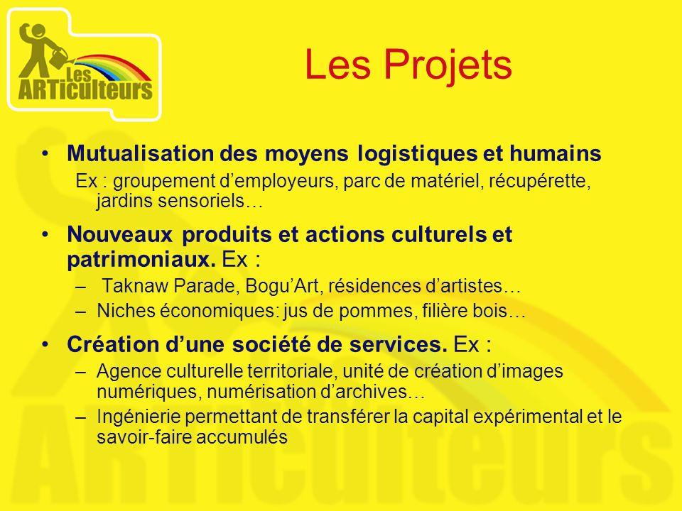 Les Projets Mutualisation des moyens logistiques et humains Ex : groupement demployeurs, parc de matériel, récupérette, jardins sensoriels… Nouveaux p