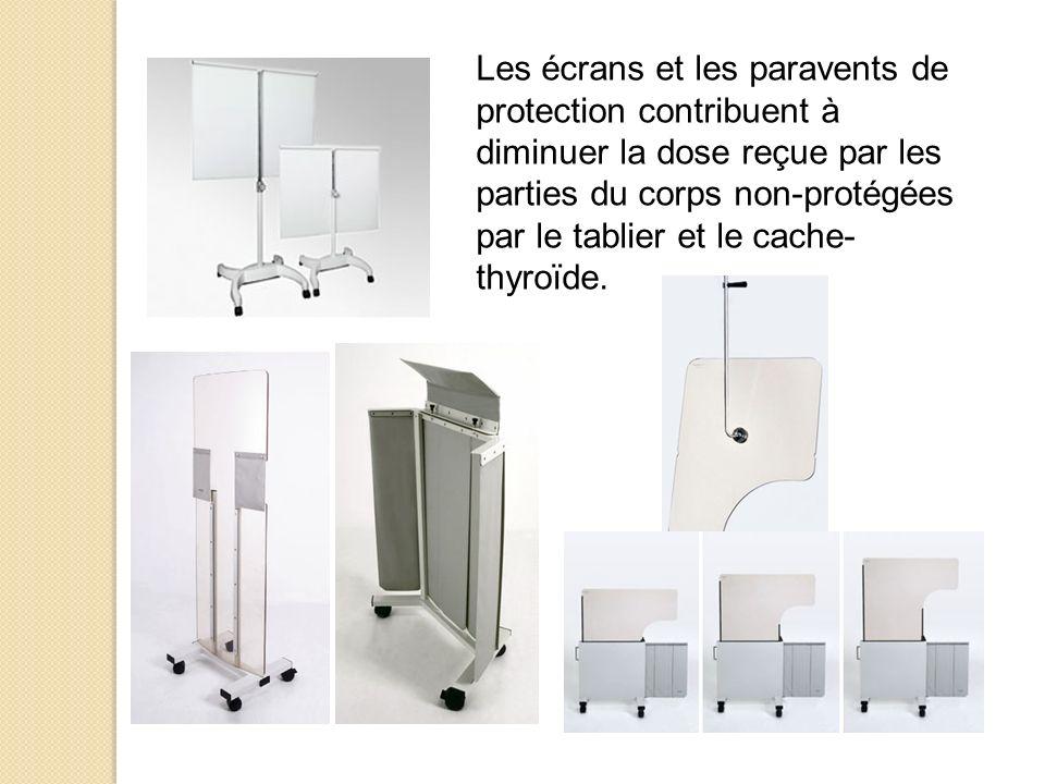 Les écrans et les paravents de protection contribuent à diminuer la dose reçue par les parties du corps non-protégées par le tablier et le cache- thyr