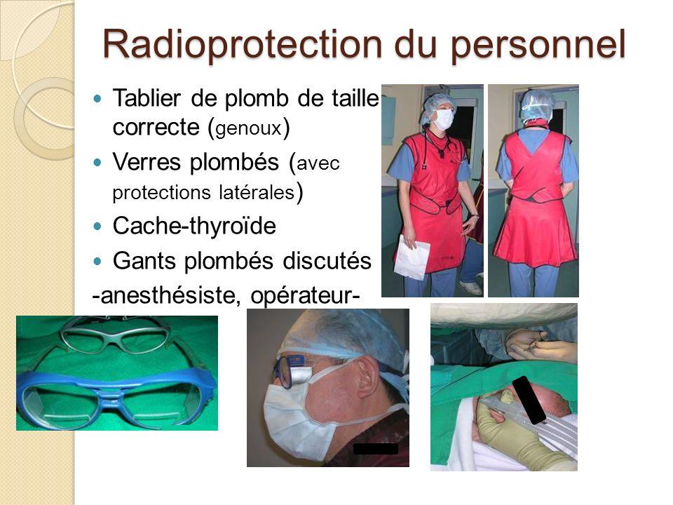 Radioprotection du personnel Tablier de plomb de taille correcte ( genoux ) Verres plombés ( avec protections latérales ) Cache-thyroïde Gants plombés