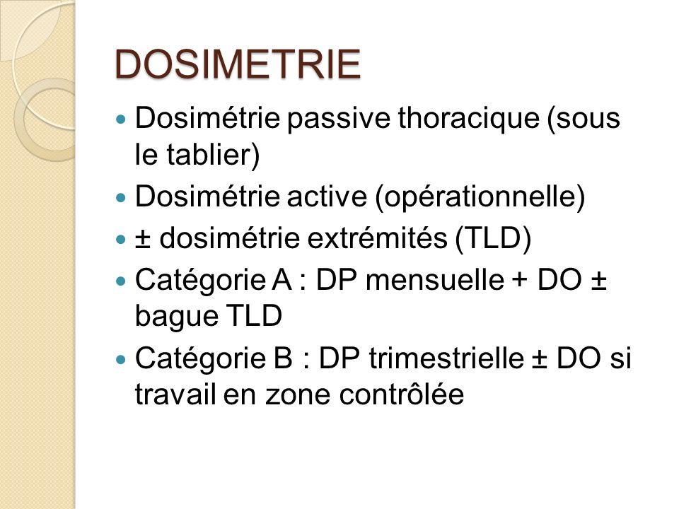 DOSIMETRIE Dosimétrie passive thoracique (sous le tablier) Dosimétrie active (opérationnelle) ± dosimétrie extrémités (TLD) Catégorie A : DP mensuelle