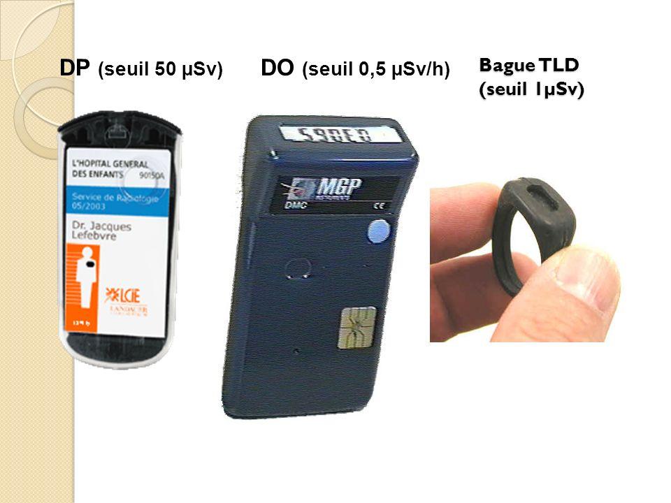 DP (seuil 50 µSv) DO (seuil 0,5 µSv/h) Bague TLD (seuil 1µSv)