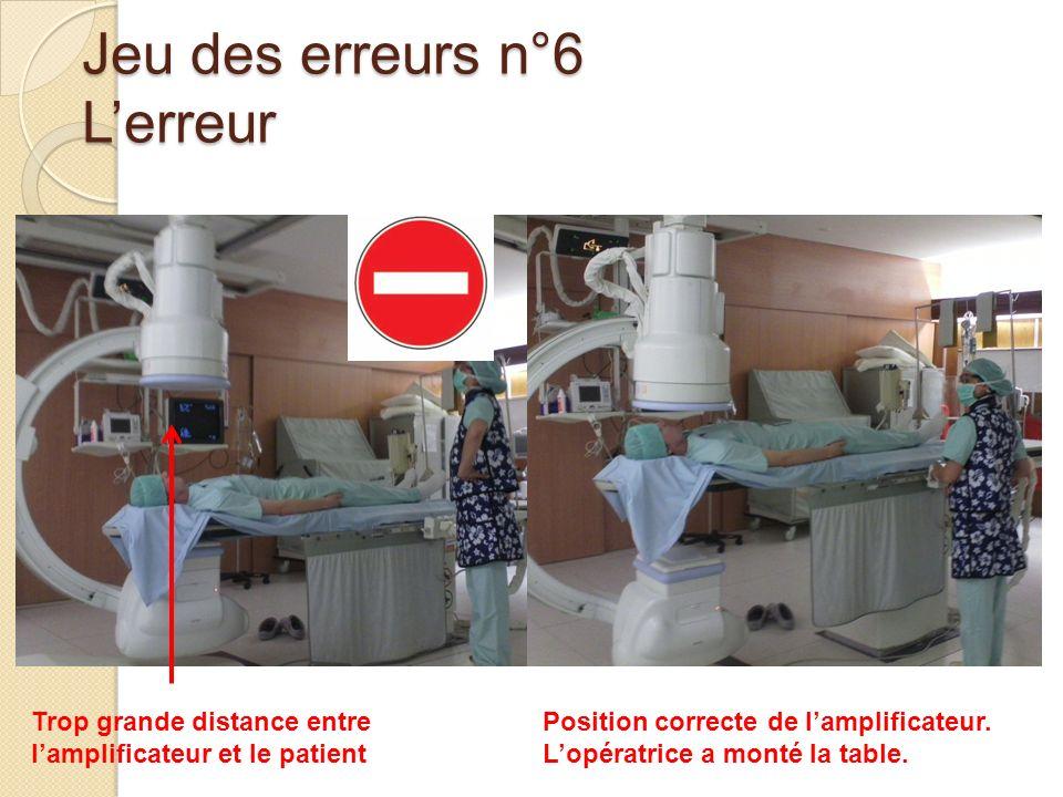 Jeu des erreurs n°6 Lerreur Trop grande distance entre lamplificateur et le patient Position correcte de lamplificateur. Lopératrice a monté la table.