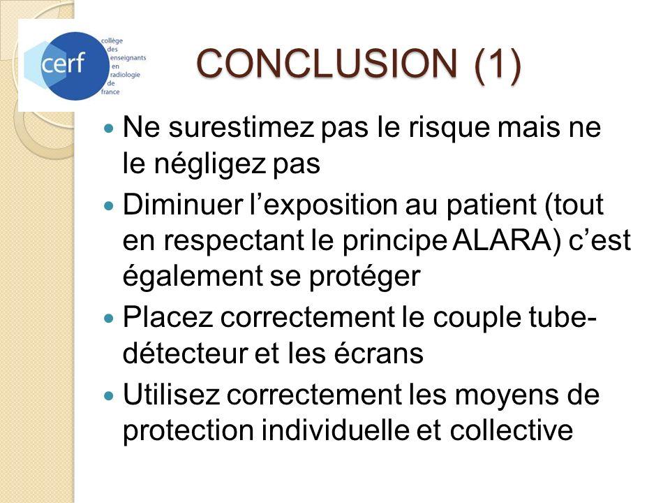 CONCLUSION (1) Ne surestimez pas le risque mais ne le négligez pas Diminuer lexposition au patient (tout en respectant le principe ALARA) cest égaleme