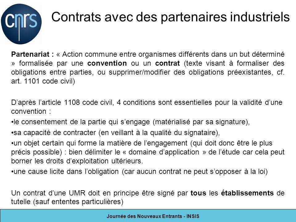 Journée des Nouveaux Entrants - INSIS Partenariat : « Action commune entre organismes différents dans un but déterminé » formalisée par une convention