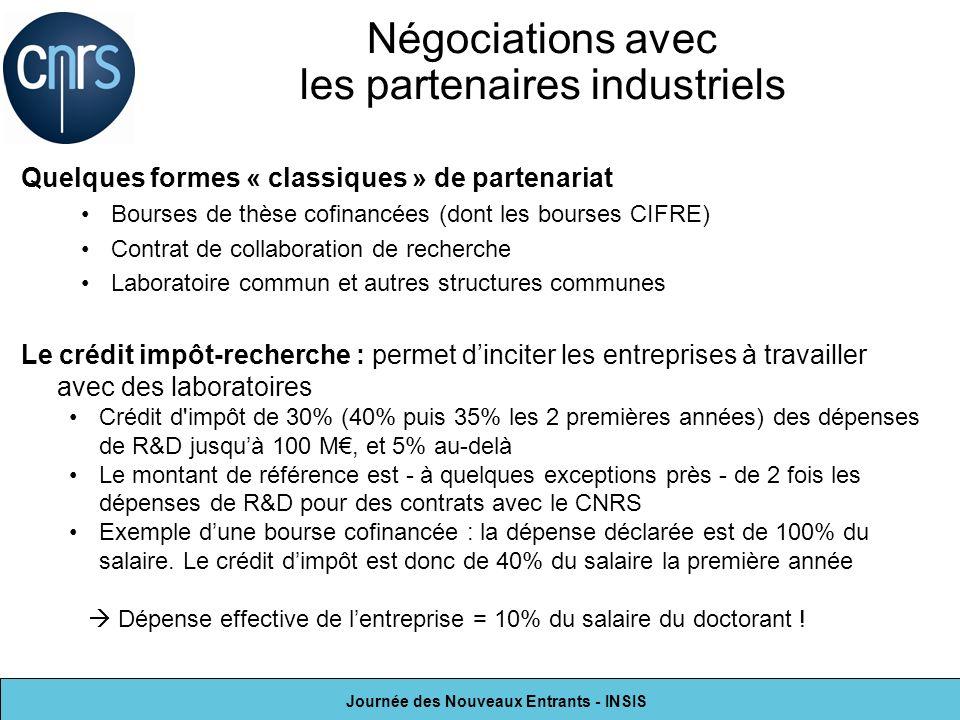 Journée des Nouveaux Entrants - INSIS Quelques formes « classiques » de partenariat Bourses de thèse cofinancées (dont les bourses CIFRE) Contrat de c