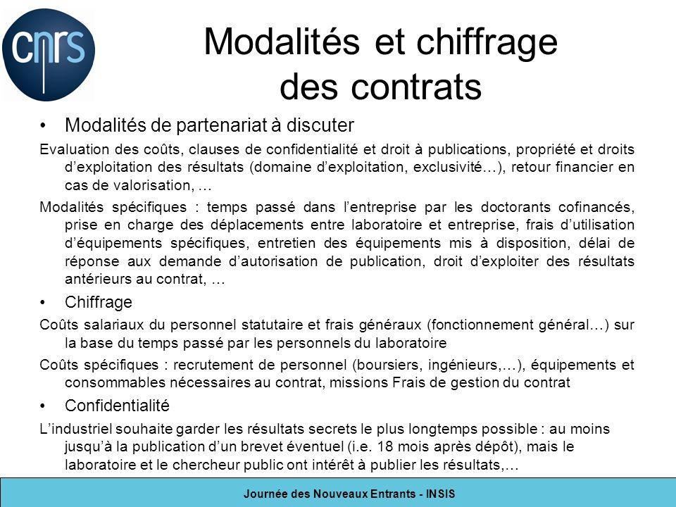 Journée des Nouveaux Entrants - INSIS Modalités et chiffrage des contrats Modalités de partenariat à discuter Evaluation des coûts, clauses de confide