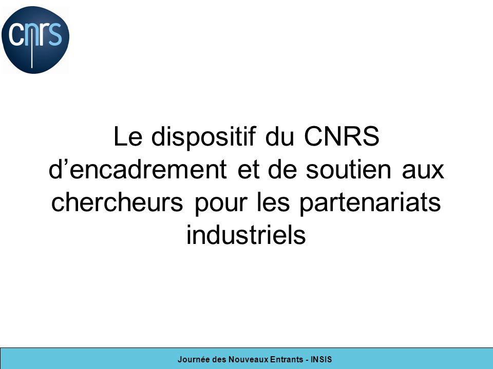 Journée des Nouveaux Entrants - INSIS Le dispositif du CNRS dencadrement et de soutien aux chercheurs pour les partenariats industriels