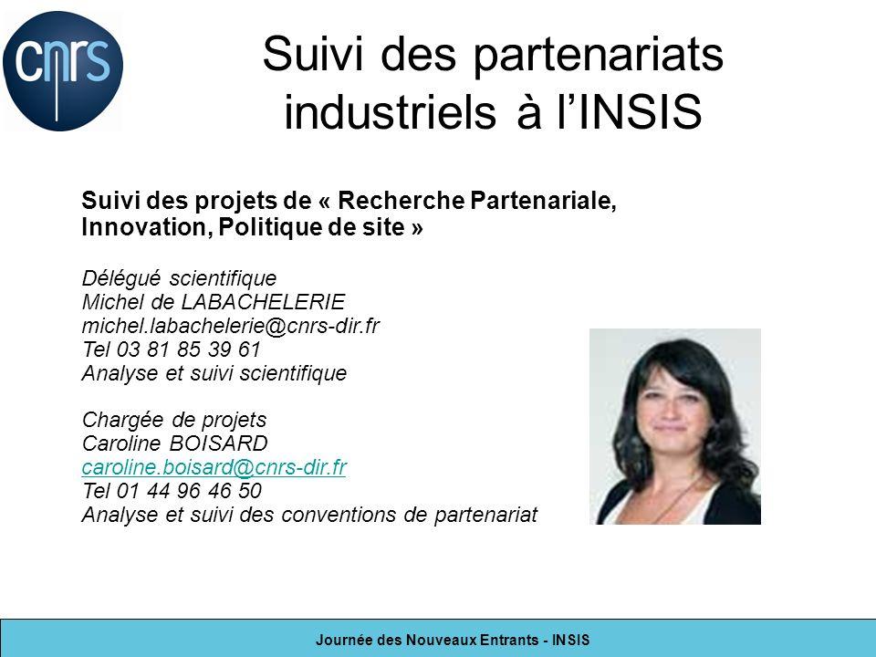 Journée des Nouveaux Entrants - INSIS Suivi des partenariats industriels à lINSIS Suivi des projets de « Recherche Partenariale, Innovation, Politique