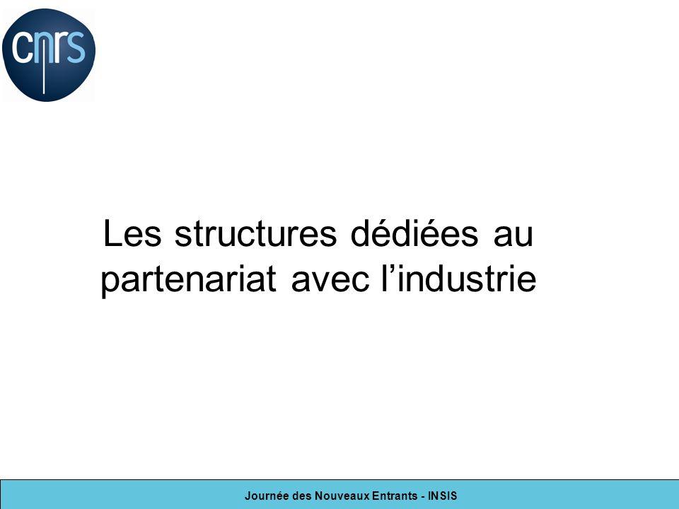 Journée des Nouveaux Entrants - INSIS Les structures dédiées au partenariat avec lindustrie
