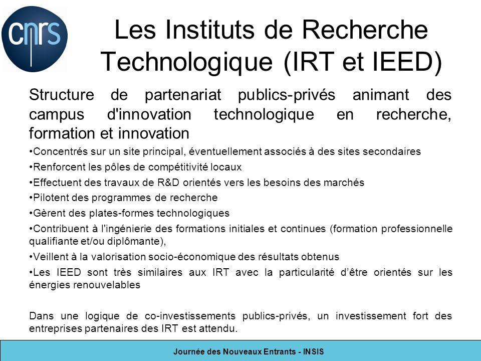 Journée des Nouveaux Entrants - INSIS Les Instituts de Recherche Technologique (IRT et IEED) Structure de partenariat publics-privés animant des campu