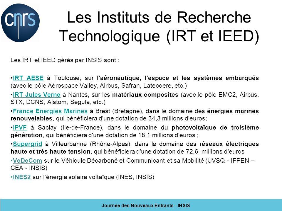 Journée des Nouveaux Entrants - INSIS Les Instituts de Recherche Technologique (IRT et IEED) Les IRT et IEED gérés par INSIS sont : IRT AESE à Toulous