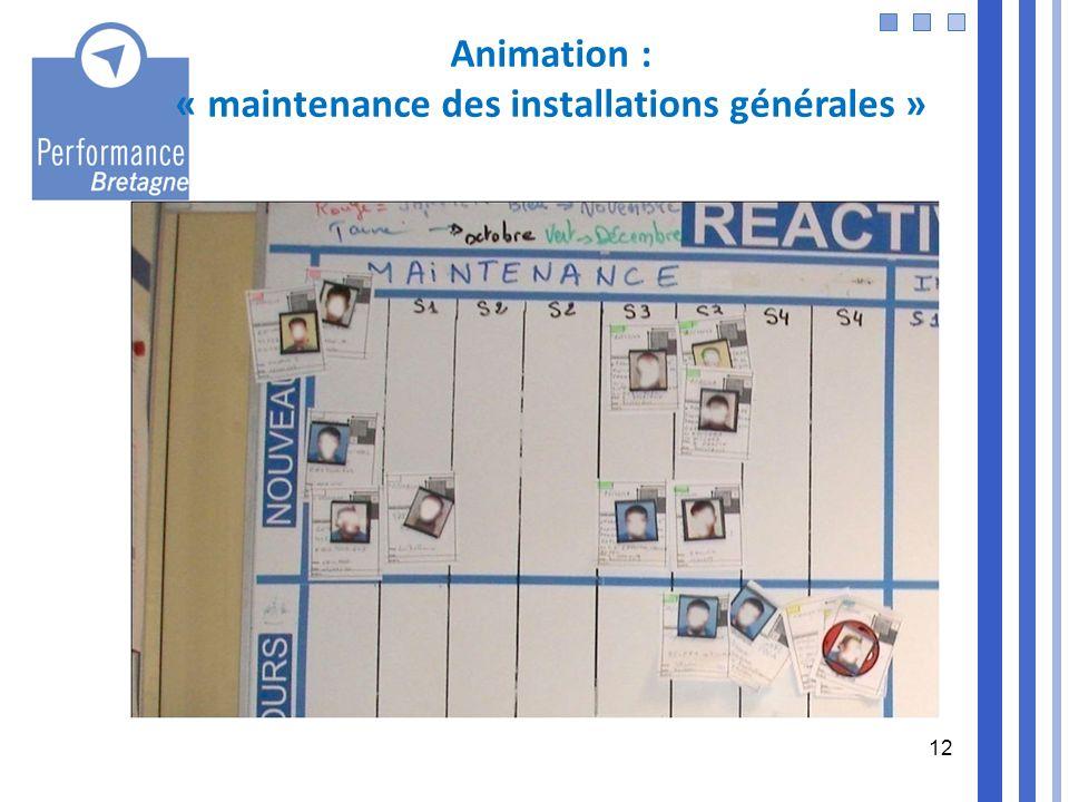 12 Animation : « maintenance des installations générales »