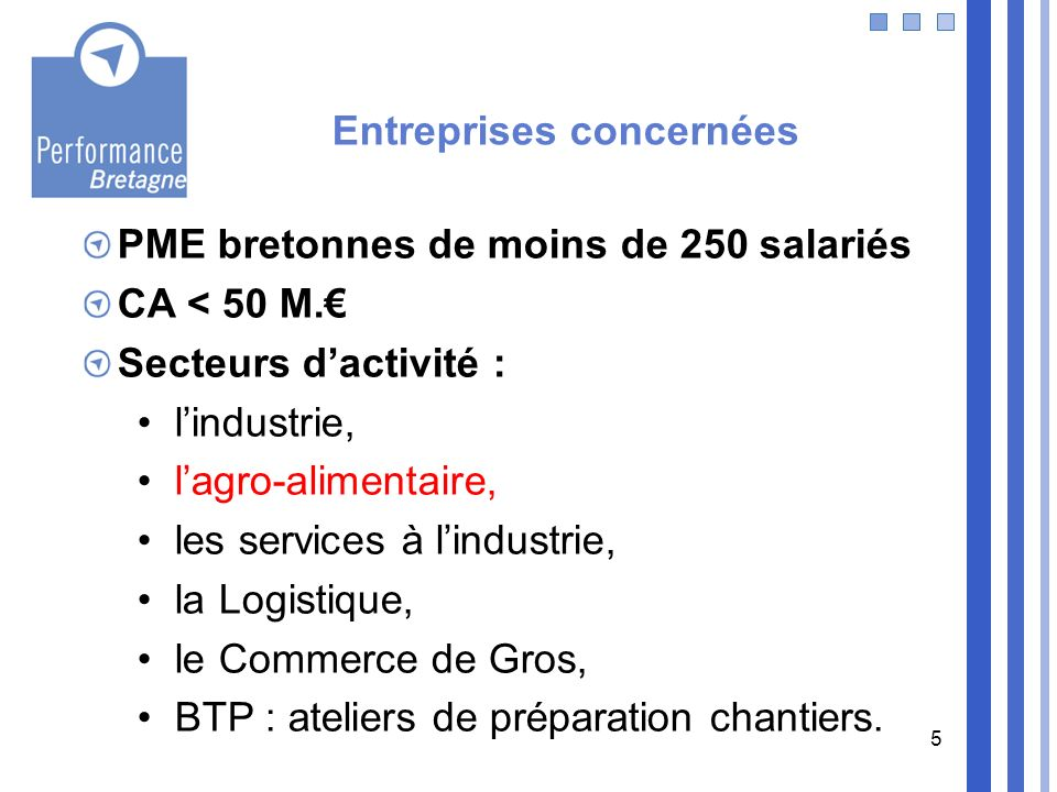 5 PME bretonnes de moins de 250 salariés CA < 50 M. Secteurs dactivité : lindustrie, lagro-alimentaire, les services à lindustrie, la Logistique, le C