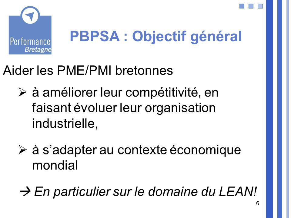 6 PBPSA : Objectif général Aider les PME/PMI bretonnes à améliorer leur compétitivité, en faisant évoluer leur organisation industrielle, à sadapter a