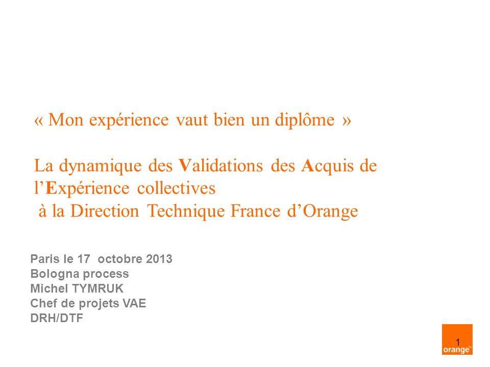 1 « Mon expérience vaut bien un diplôme » La dynamique des Validations des Acquis de lExpérience collectives à la Direction Technique France dOrange P