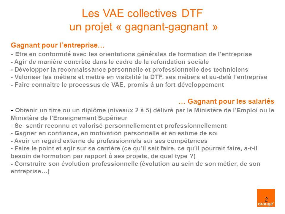 2 Les VAE collectives DTF un projet « gagnant-gagnant » Gagnant pour lentreprise… - Etre en conformité avec les orientations générales de formation de lentreprise - Agir de manière concrète dans le cadre de la refondation sociale - Développer la reconnaissance personnelle et professionnelle des techniciens - Valoriser les métiers et mettre en visibilité la DTF, ses métiers et au-delà lentreprise - Faire connaitre le processus de VAE, promis à un fort développement … Gagnant pour les salariés - Obtenir un titre ou un diplôme (niveaux 2 à 5) délivré par le Ministère de lEmploi ou le Ministère de lEnseignement Supérieur - Se sentir reconnu et valorisé personnellement et professionnellement - Gagner en confiance, en motivation personnelle et en estime de soi - Avoir un regard externe de professionnels sur ses compétences - Faire le point et agir sur sa carrière (ce quil sait faire, ce quil pourrait faire, a-t-il besoin de formation par rapport à ses projets, de quel type ?) - Construire son évolution professionnelle (évolution au sein de son métier, de son entreprise…)