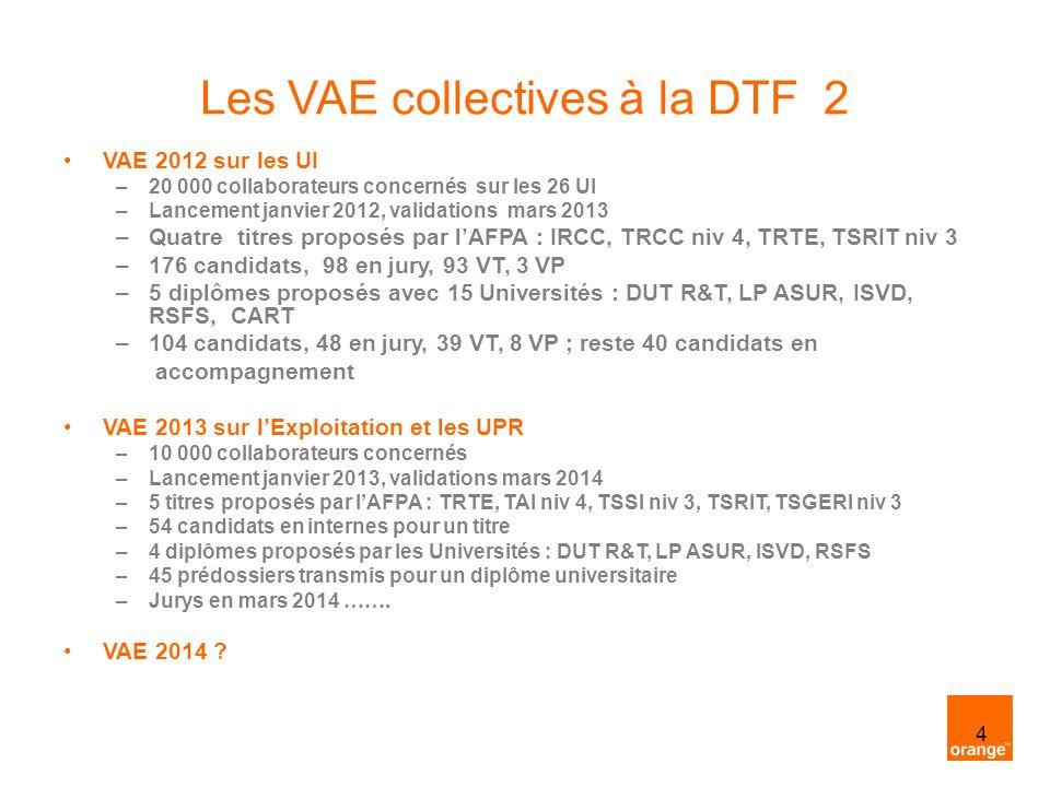 4 Les VAE collectives à la DTF 2 VAE 2012 sur les UI –20 000 collaborateurs concernés sur les 26 UI –Lancement janvier 2012, validations mars 2013 –Qu