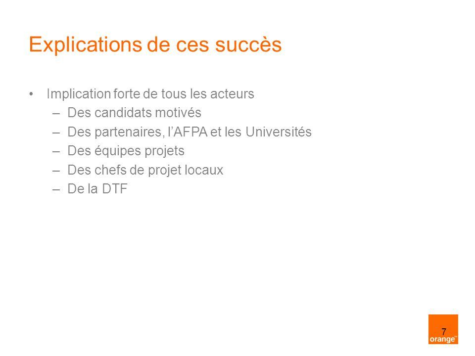 7 Explications de ces succès Implication forte de tous les acteurs –Des candidats motivés –Des partenaires, lAFPA et les Universités –Des équipes proj