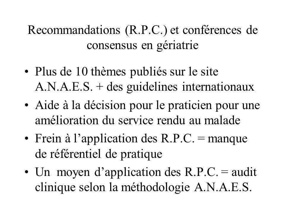 Définitions (rappel) R.P.C.: données basées sur un haut niveau de preuve scientifique.