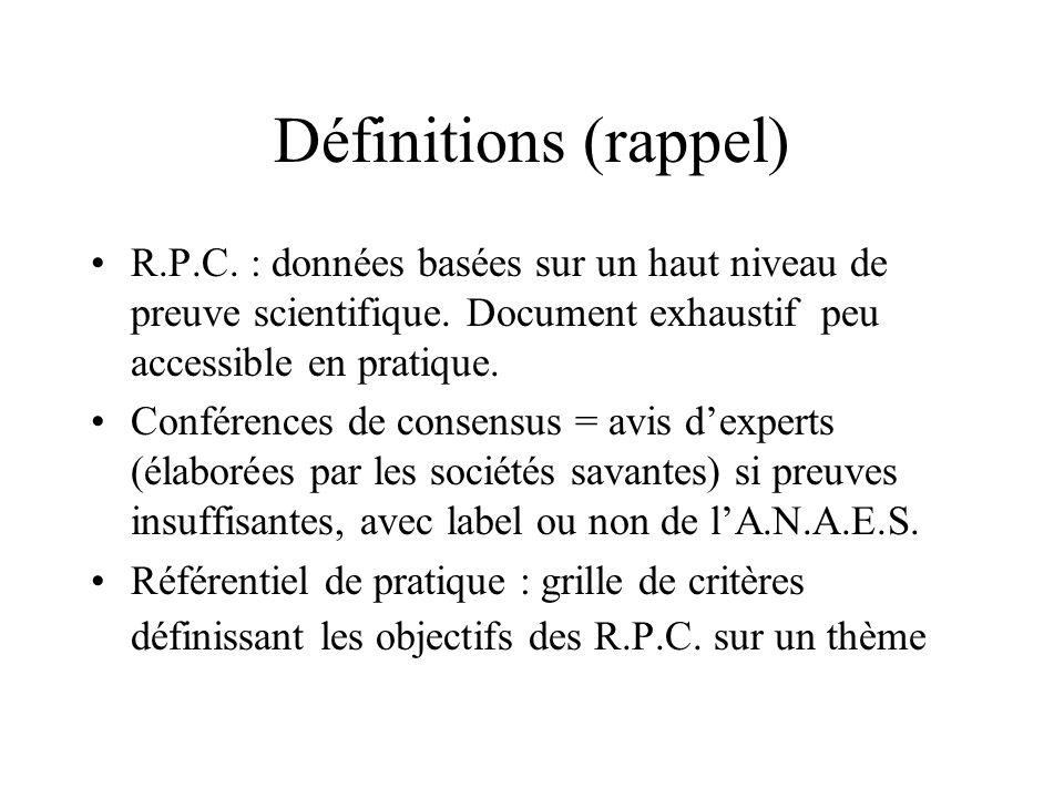 Définitions (rappel) R.P.C. : données basées sur un haut niveau de preuve scientifique. Document exhaustif peu accessible en pratique. Conférences de