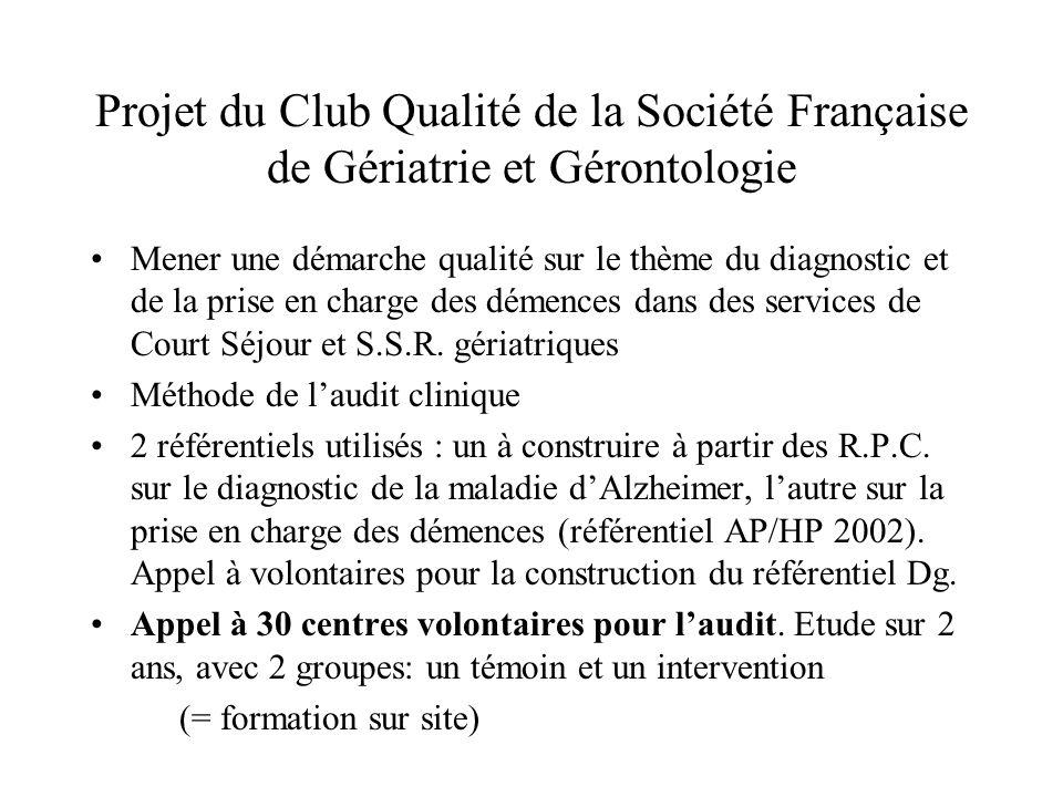Projet du Club Qualité de la Société Française de Gériatrie et Gérontologie Mener une démarche qualité sur le thème du diagnostic et de la prise en ch