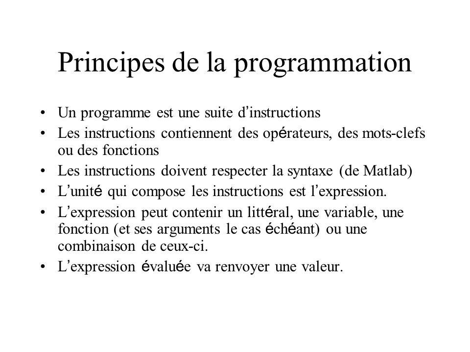 Principes de la programmation Un programme est une suite d instructions Les instructions contiennent des op é rateurs, des mots-clefs ou des fonctions