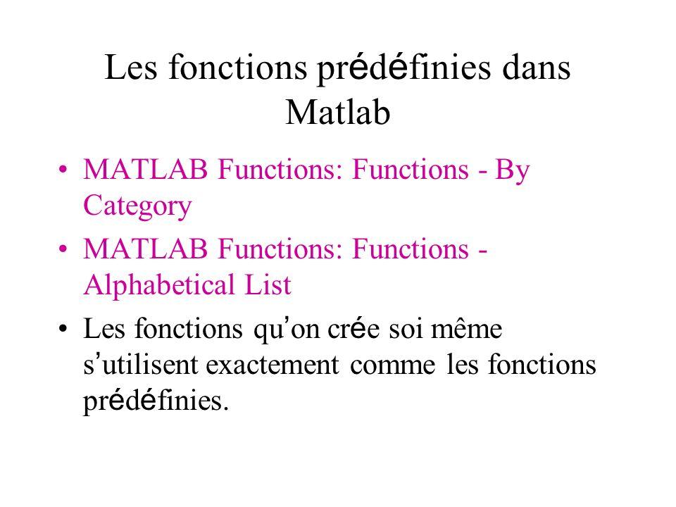 Les fonctions pr é d é finies dans Matlab MATLAB Functions: Functions - By Category MATLAB Functions: Functions - Alphabetical List Les fonctions qu o