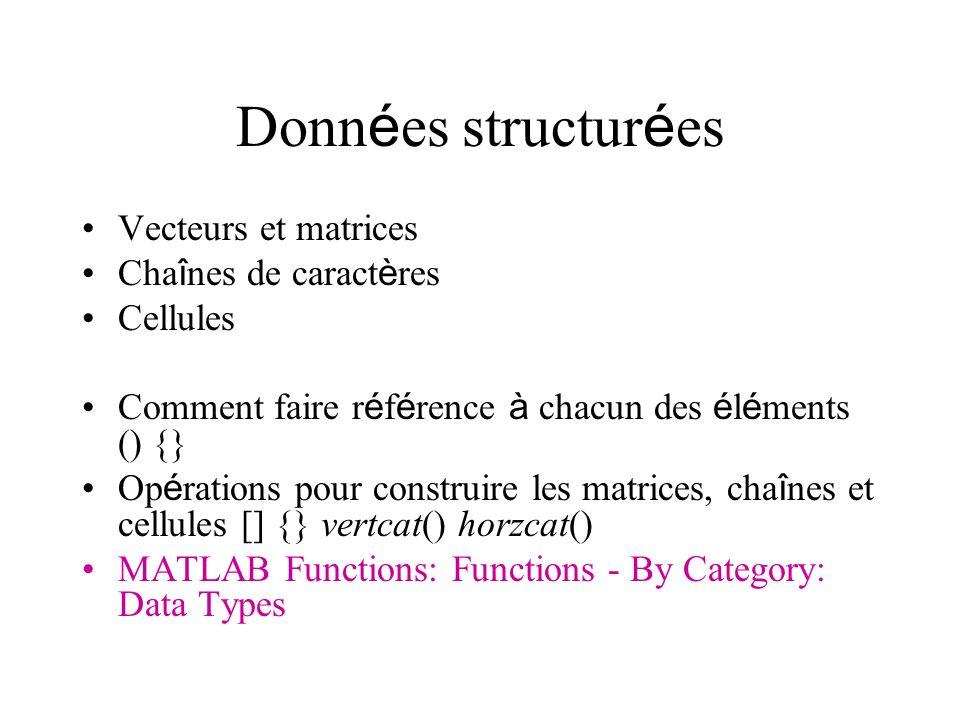 Donn é es structur é es Vecteurs et matrices Cha î nes de caract è res Cellules Comment faire r é f é rence à chacun des é l é ments () {} Op é ration
