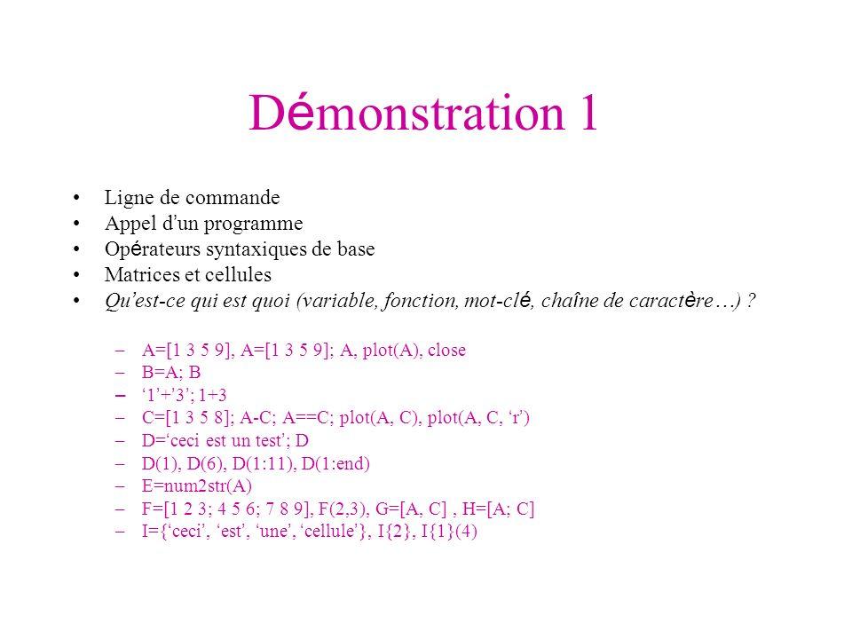 D é monstration 1 Ligne de commande Appel d un programme Op é rateurs syntaxiques de base Matrices et cellules Qu est-ce qui est quoi (variable, fonct