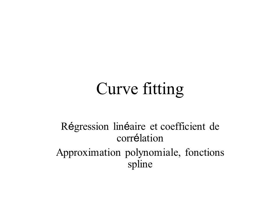 Curve fitting R é gression lin é aire et coefficient de corr é lation Approximation polynomiale, fonctions spline