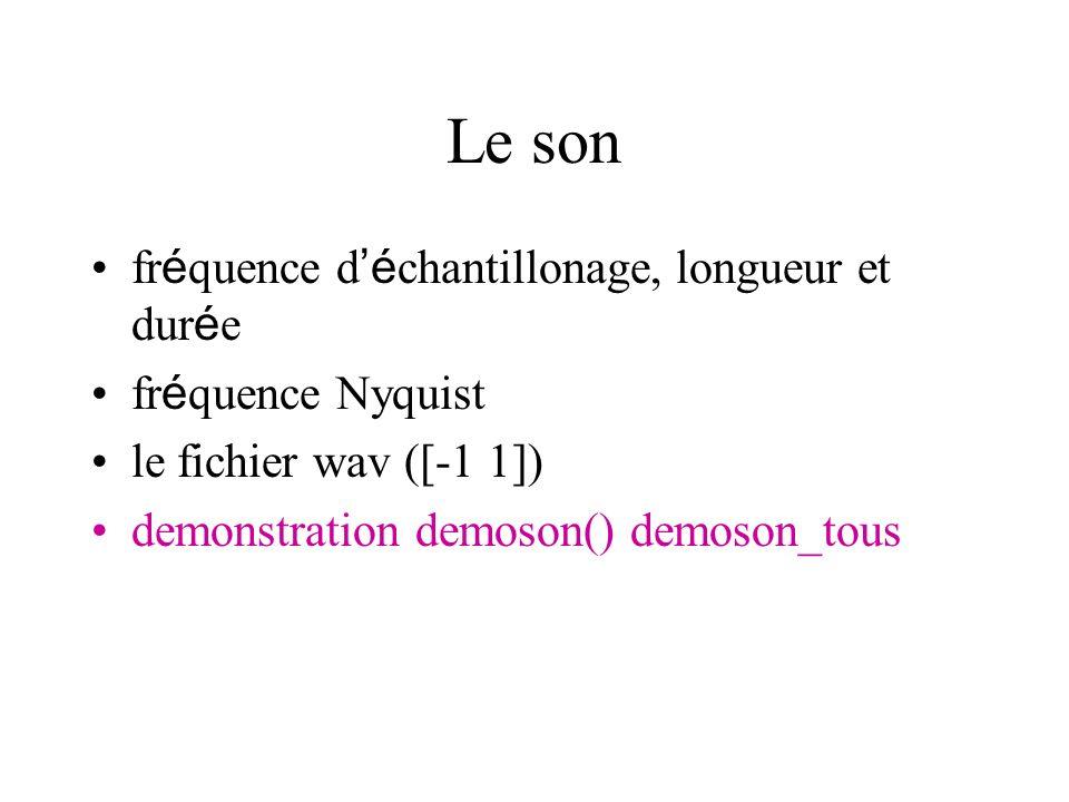 Le son fr é quence d é chantillonage, longueur et dur é e fr é quence Nyquist le fichier wav ([-1 1]) demonstration demoson() demoson_tous