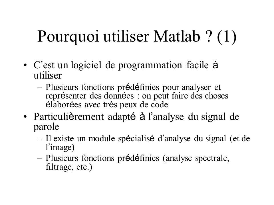 Pourquoi utiliser Matlab ? (1) C est un logiciel de programmation facile à utiliser –Plusieurs fonctions pr é d é finies pour analyser et repr é sente