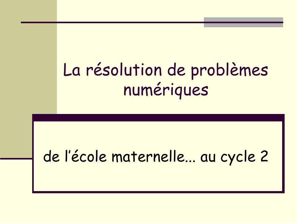 La résolution de problèmes numériques de lécole maternelle... au cycle 2