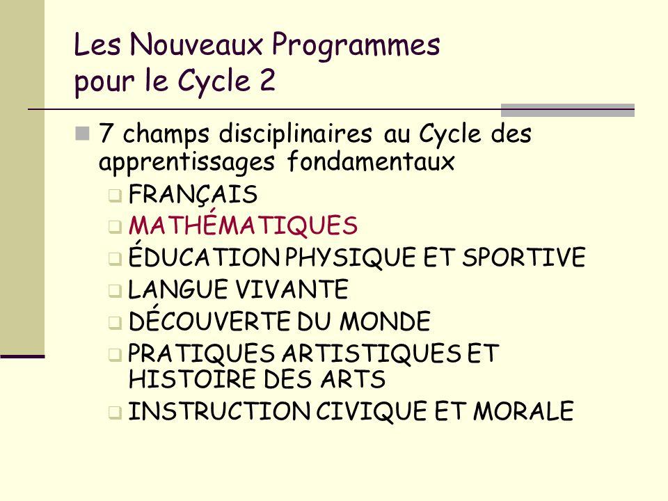 Les Nouveaux Programmes pour le Cycle 2 7 champs disciplinaires au Cycle des apprentissages fondamentaux FRANÇAIS MATHÉMATIQUES ÉDUCATION PHYSIQUE ET