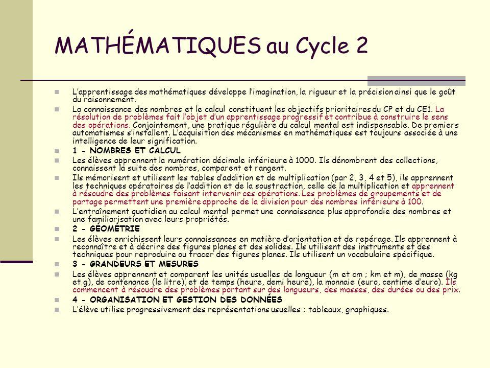 MATHÉMATIQUES au Cycle 2 Lapprentissage des mathématiques développe limagination, la rigueur et la précision ainsi que le goût du raisonnement. La con